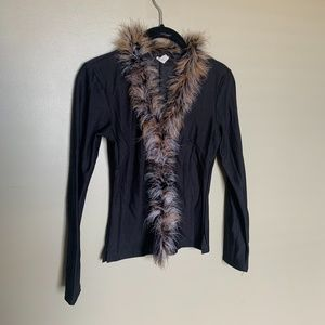 Black faux fur trimmed long sleeve top size XS